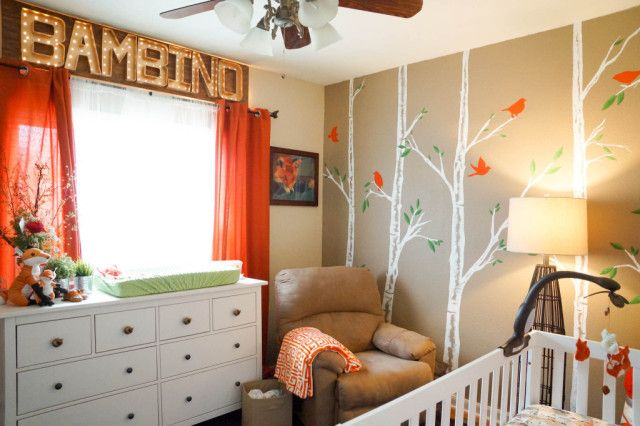 Orange and Beige Fox-Themed Nursery: Boy Nursery, Nursery Ideas, Bambino Sign, Baby Rooms, Project Nursery, Accent Walls, Fox Themed Nursery, Kids Rooms