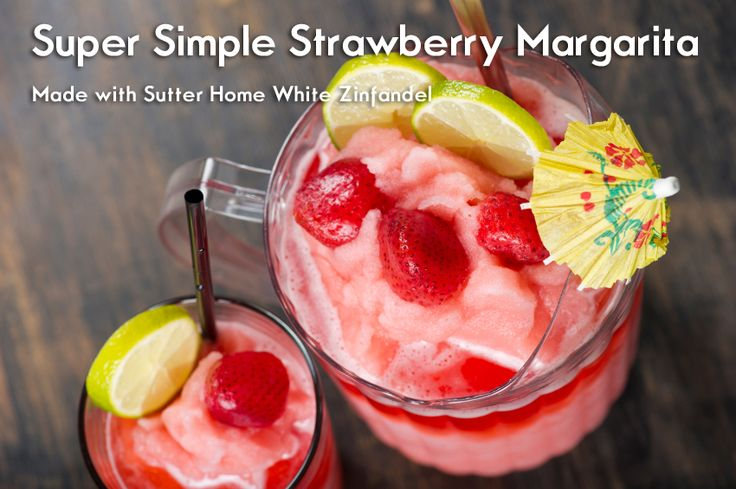 Super Simple Strawberry Sangria made with Sutter Home White Zinfandel.