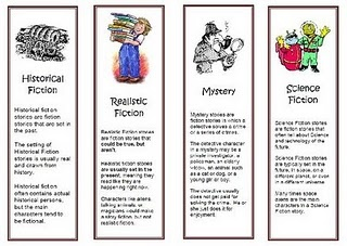 Genre of the Month bookmarks. Print these in different colors and keep on the circulation desk for students to grab at checkout.