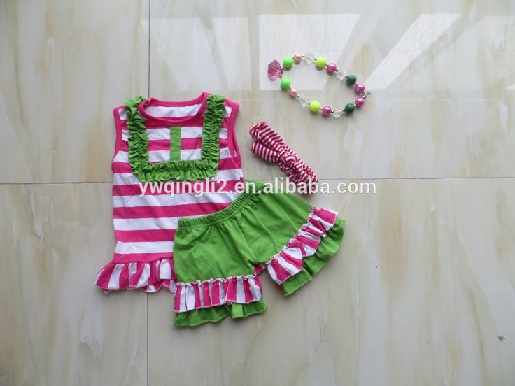 YJ-101 Baby Girls Ruffle Shorts Sets Clothes, Summer Ruffle Shorts Outfit, Little Girls Boutique Remake Clothing Sets