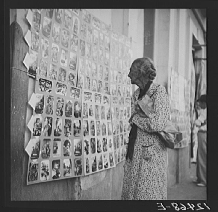 1937 Postcards for sale near the market. San Juan, Puerto Rico.