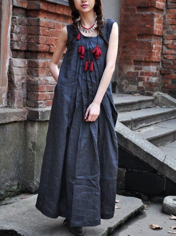 Linen Blue Summer Dress / Long Pleated Maxi Dress by camelliatune, $69.00