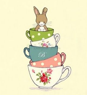 Children's Wall Art Print - Friends for Tea - Bunny and her Tea Cup Print - Girl…