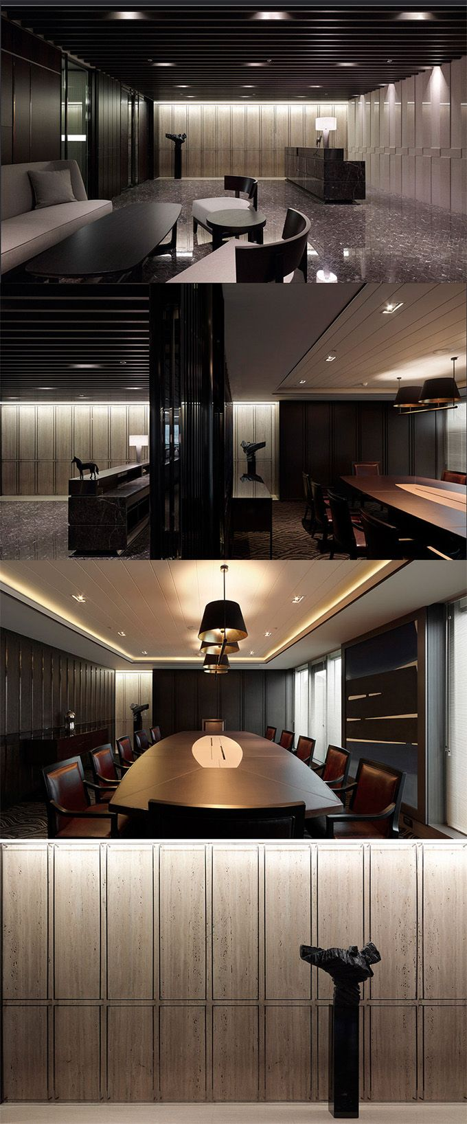 I Love The Dark Sleek Contemporary Feel To Space Minimal Luxury Office Design Dedicated Deliver Superior Interior Acoustic Experince