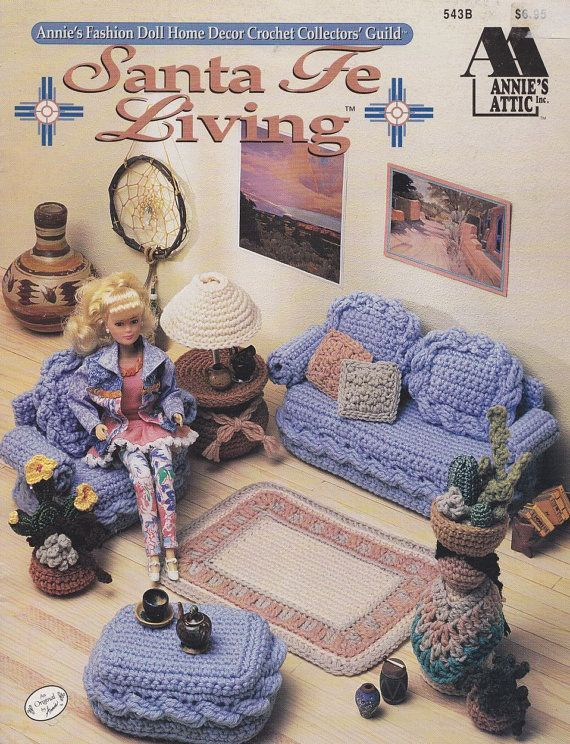 Santa Fe Fashion Doll Furniture Crochet Patterns - Couch, Rug and more @Kate Sape ....thought of you...this is something you could do!