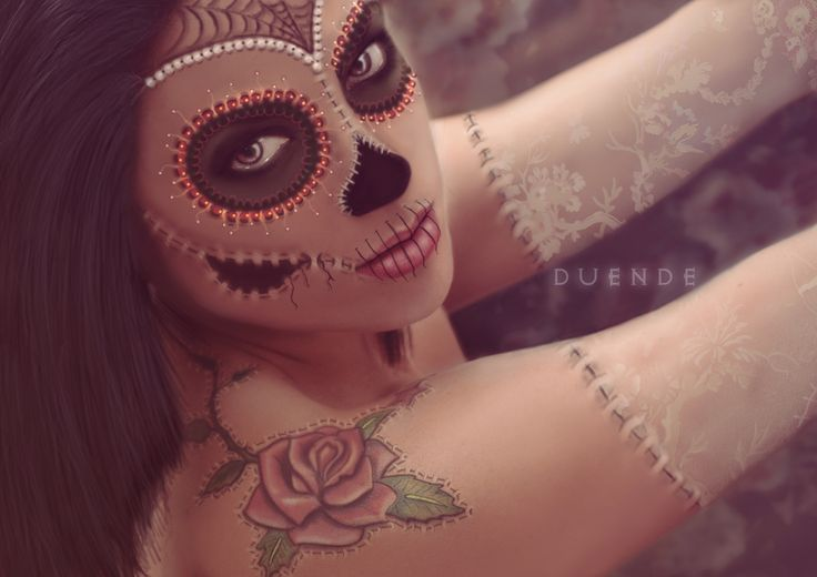 By Duende. Raquel Fernández.   #catrina #skull #beauty #makeup #fantasy #makeup #halloween #ideas #illustration #art #artistic #photoshop