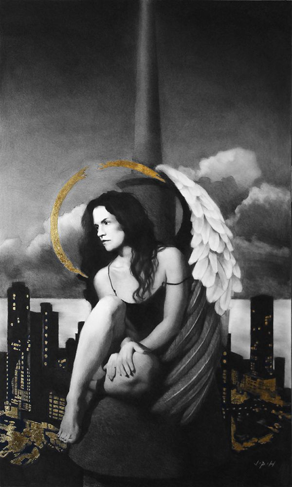 """Angel Kat 40"""" x 24"""" Gold Leaf and  Carbon Pencil on Paper www.jphfinearts.net"""