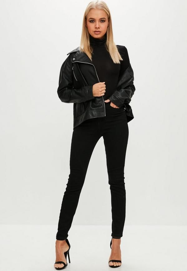 7ea541fe93 Missguided Black Funnel Neck Long Sleeve Bodysuit in 2019   Items to ...