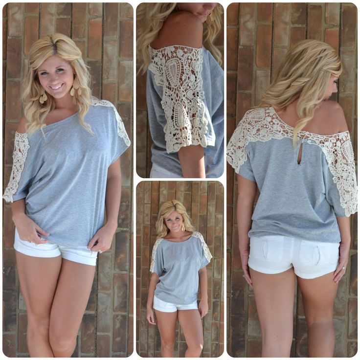 Lace + old t-shirt = cute!  Such a good idea! :): Idea, Diy Shirt, Tshirts, Lace Sleeve, Outfit, Diy Clothes, T Shirts