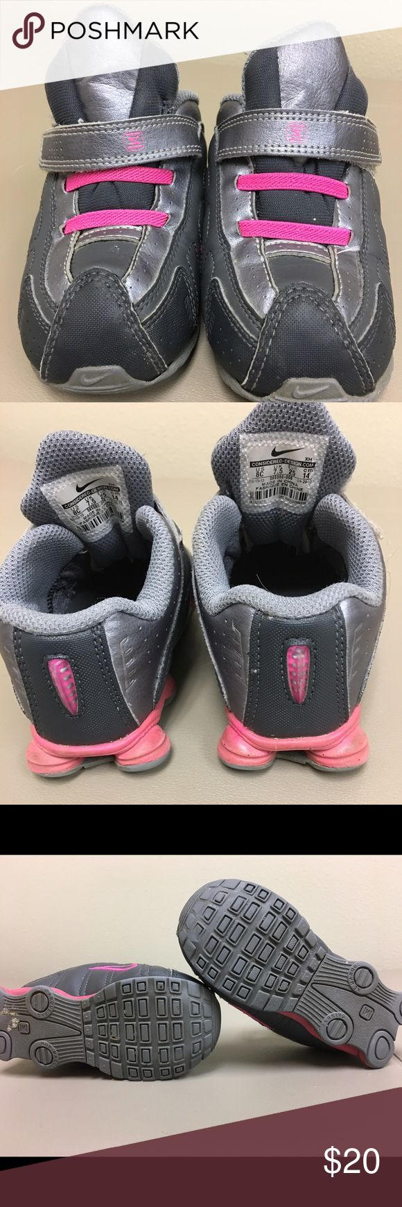 Nike Shocks Gently used Nike Shocks for girls. Still has a lot of wear. Black and pink. Size 8. My daughter loves these. Price is negotiable. Make offer, you may be surprised. 😊 Nike Shoes Sneakers