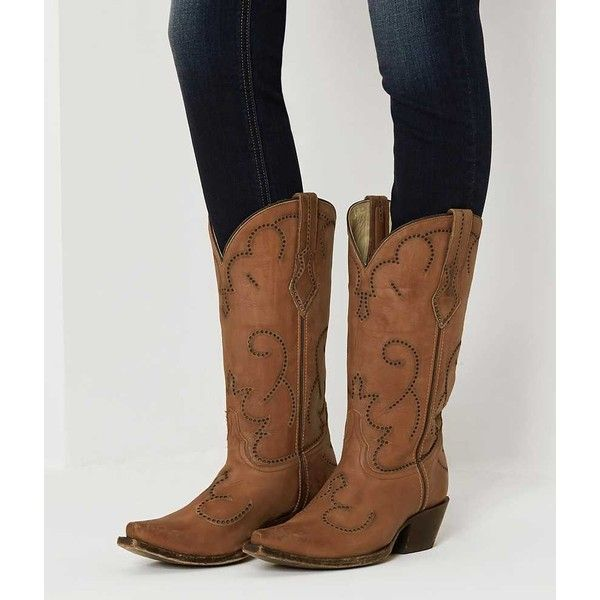 Corral Perforated Cowboy Boot - Brown US 10 ($226) ❤ liked on Polyvore featuring shoes, boots, brown, perforated boots, tall brown boots, perforated shoes, cowboy boots and brown cowgirl boots