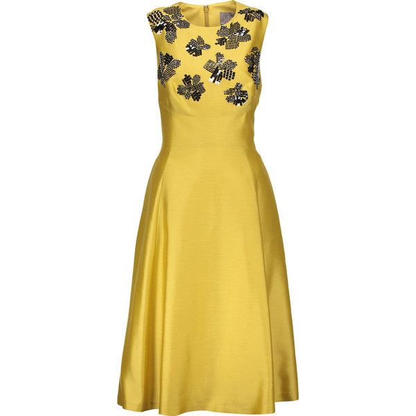 Lela Rose - Embellished Wool And Silk-blend Dress (1,055 CAD) ❤ liked on Polyvore featuring dresses, yellow, beaded sequin dress, woolen dress, lela rose, sequin embellished dress and sequin dresses