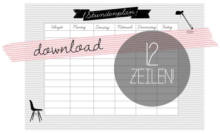 Stundenplan Freebie by http://titatoni.blogspot.de/