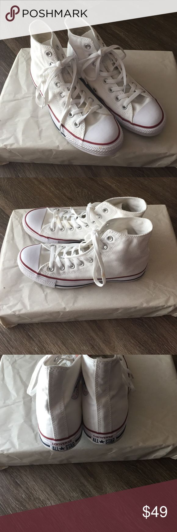 Converse Classic High Top Sneakers 9 Converse Classic High Top Sneakers.                    Size women's 9. Gently used a few times excellent condition. Shoelaces have some marks they may need washed. Converse Shoes Sneakers