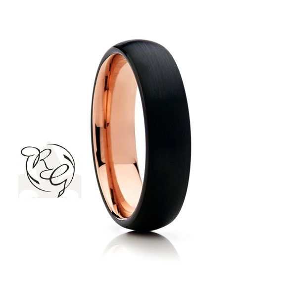 Black with Rose Gold Tungsten Wedding Band,6mm, New Black Wedding Band,Black Wedding Band,Anniversary, Black Ring,Size,New Ring,Mens,Rings