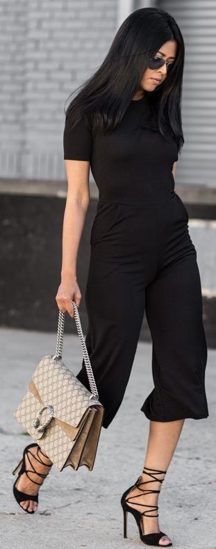 Culotte Jumpsuit: Boohoo Petite / Coat: Boohoo Petite  Gucci Bag  Black Lace Up Heels  All Black Everything Spring Street Style   Walk In Wonderland #culotte