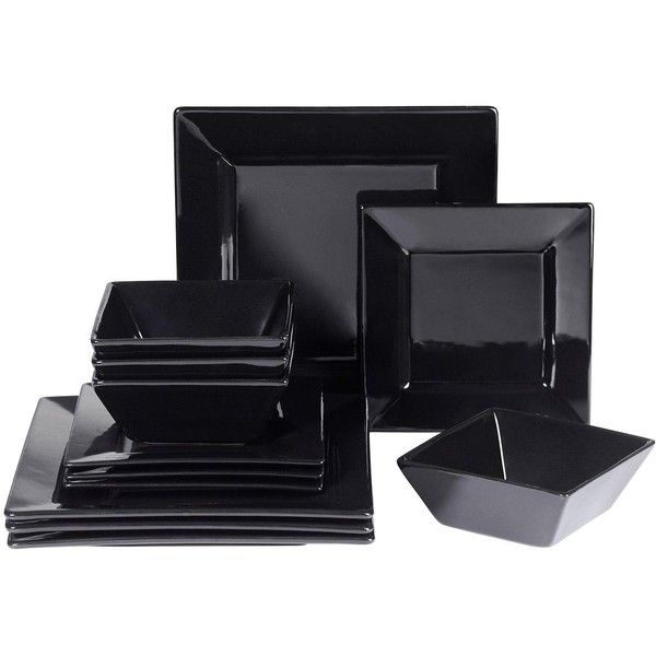 Waterside Boston 12-Piece Square Dinner Set ($44) ❤ liked on Polyvore featuring home, kitchen & dining, dinnerware, microwave safe bowl, square dinnerware, stoneware dinner sets, microwave safe dinner plates and square dinner sets