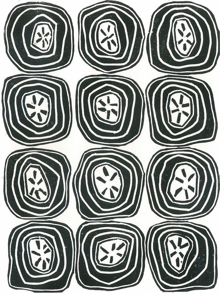 ABSTRACT FRUIT Linocut Print