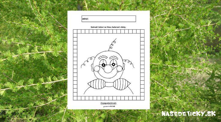 Rozveseľte si deň so šašom, ktorý od vás chce, aby ste mu dokreslili kučeravé vlasy. Pracovný list pre deti.