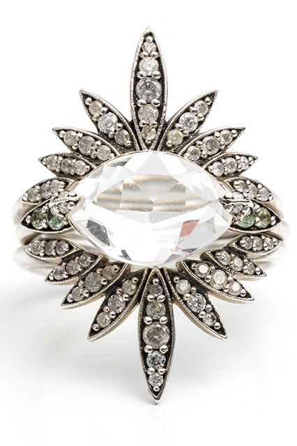 """26 Unique Engagement Rings That Will Make You Want To Say """"I Do"""" #refinery29  http://www.refinery29.com/best-summer-engagement-rings#slide-2  This Alexis Bittar sunburst ring with a clear quartz centerpiece is actually three rings in one. Wear each of them on its own or all of them together to create the ultimate statement piece you can own for a lifetime. ..."""