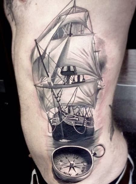 Realism Ship And Compass Tattoos On Ribs | Tattoobite.com