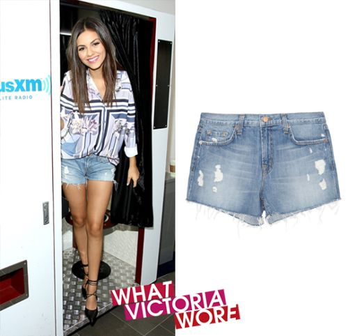 September 17th, 2015 | Visiting 'SiriusXM' in New York J Brand Low Rise Cut Off Distressed Shorts - $99 - Sale Price Listed  ____________________________ I want to Thank Marjorie for all her work in finding and posting these items you can see all of Victoria's items >>> whatvictoriawore.... Once again Thank You, ... ... ... +++ ALF +++