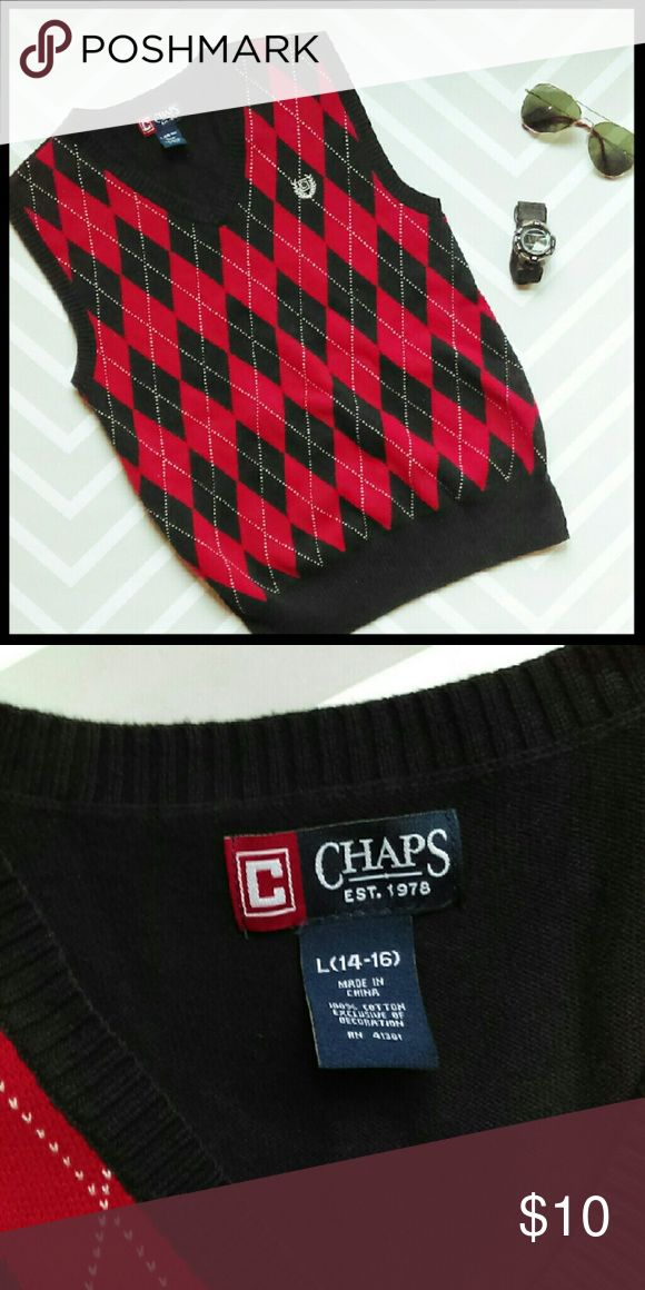 {Boys} Chaps Argyle sweater vest In perfect condition. Look stylish this winter in this awesome sweater vest. Pair with a dress shirt and tie. From a smoke and pet free home. I ship fast!  *Bundle and save 10%  *No trades  *All offers considered Chaps Shirts & Tops Sweaters