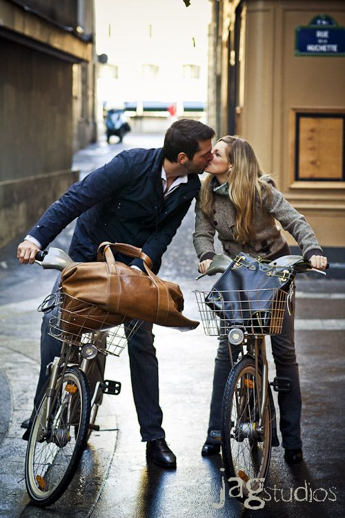 """Bike ride & love in Paris.  """"The moment eternal - just that and no more - When ecstasy's utmost we clutch at the core/ While cheeks burn, arms open, eyes shut, and lips meet!""""  Robert Browning"""