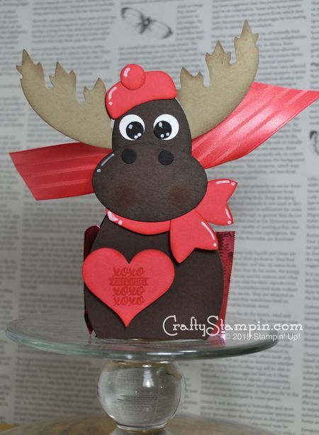 Stampin Up curvy keepsakes die reindeer / moose valentines day treat box craft project. instructions on blog. by linda cullen