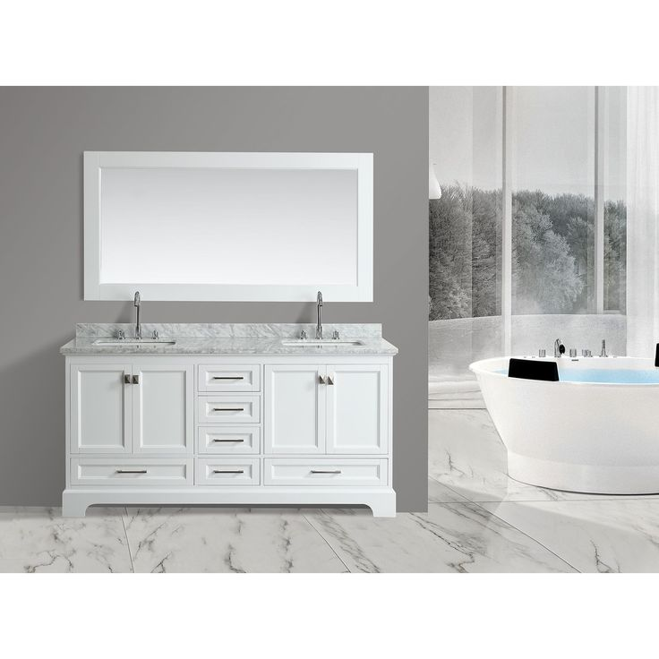 Design Element Omega 72 Inch Double Sink Vanity Set With Mirror
