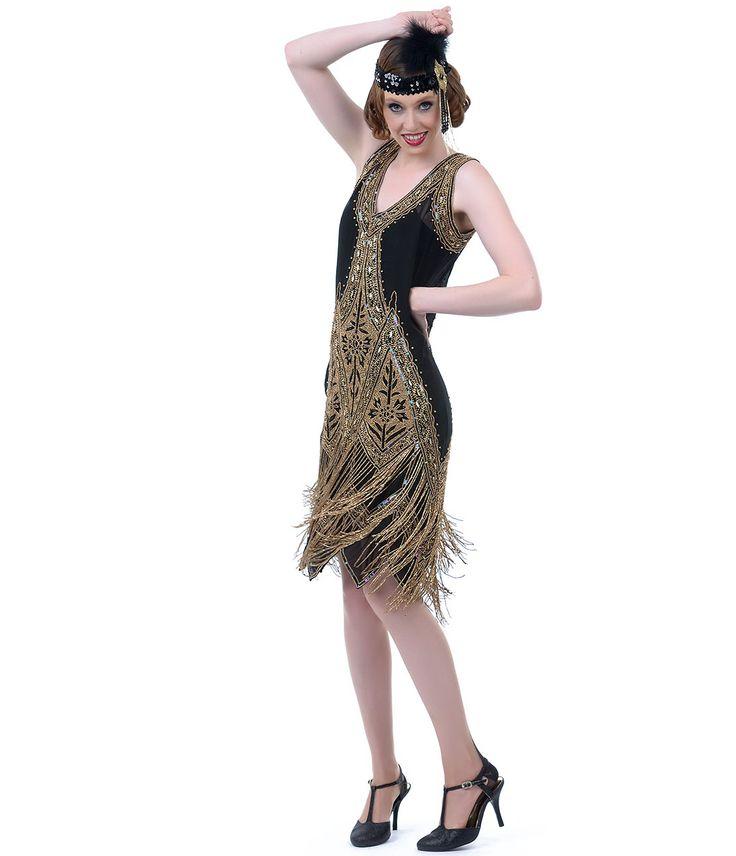 Unique Vintage Black & Gold Embroidered Reproduction 1920s Flapper Dress #uniquevintage