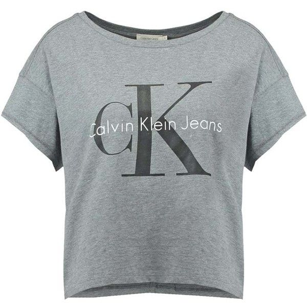 Calvin Klein Jeans Print T-shirt light grey ❤ liked on Polyvore featuring tops, t-shirts, pattern tops, print tee, pattern t shirt, print top and calvin klein t shirt