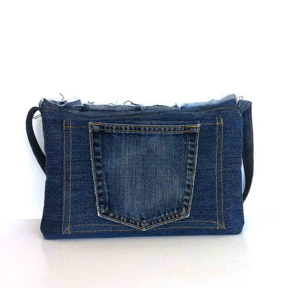 Small denim messenger bag recycled jean crossbody by Sisoibags