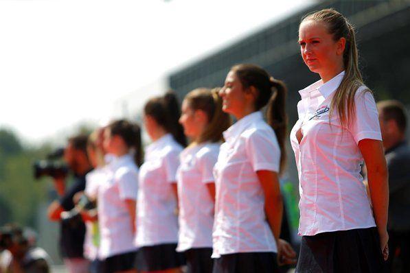 Grid girls. Formula One World Championship, Rd13, Italian Grand Prix, Monza, Italy, Race Day, Sunday, 7 September 2014