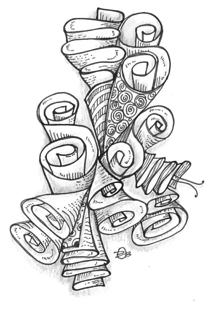 Zenplosion Folds by Danielle O'Brien Design.  A fun style of zentangle and how to sketch it =)