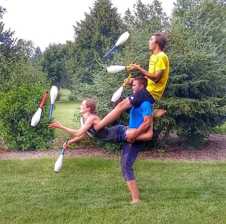 Bob and Trish, three person acro-yoga, club acro-juggling ...
