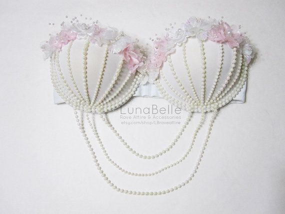 HANA pearl flower rave bra by CosmicCrystal on Etsy, $54.00