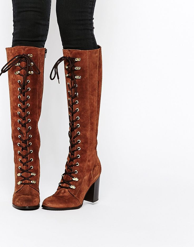 Carvela Wander Rust Suede Lace Up Knee Boots