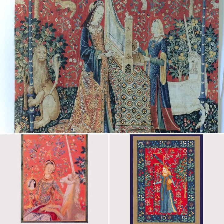 """La Dame à la Licorne - un des sujets les plus connus de l'époque médiévale. En haut: Tenture Dame à la Licorne (vers 1500) En bas à gauche - kit G2020 de Thea Gouverneur En bas à droite - stylisation du sujet médiévale par Cécile Vessière, kit 1045 """"Scène Médiévale"""""""