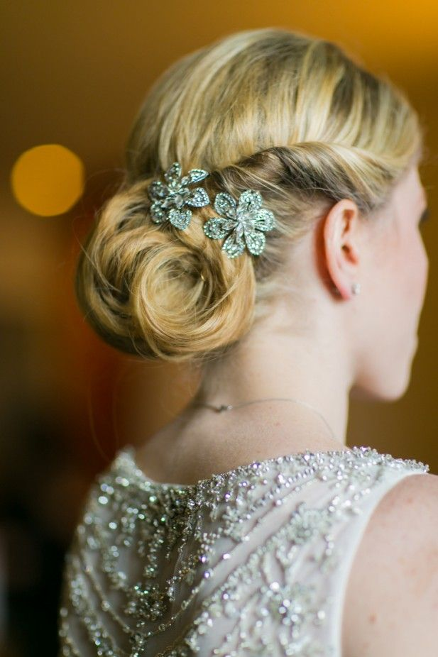 Beautiful up-do with flower brooches (Sarah Tew Photography)