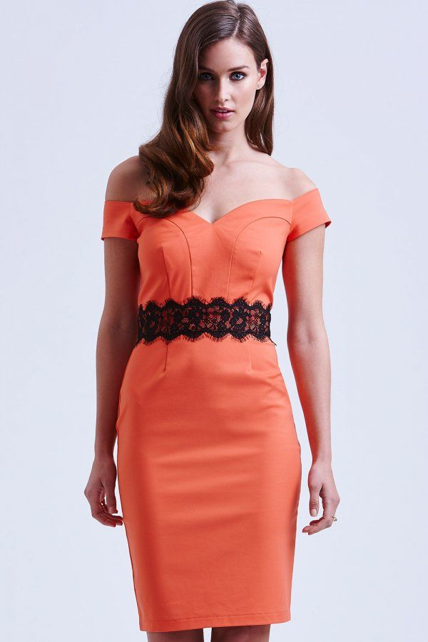 Outlet Paper Dolls Orange and Black Lace Sweetheart Dress
