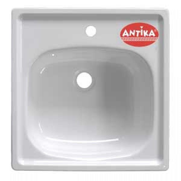 Мойка кухонная стальная подвесная Antika 500х500 мм, белая