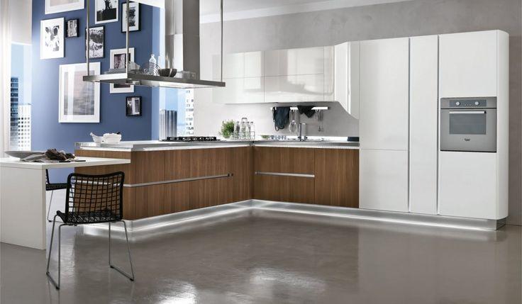 Kitchen: Charming Kitchen Tile Ideas Design With Grey Granite Laminate Flooring Brown Wooden Kitchen Cabinets White Ceiling Design White Wall Painting Kitchen Table Kitchen Sink Gas Ranges With Cooker Hood: Kitchen Floor Tile Ideas
