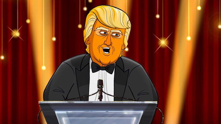 Cartoon Trump Roasts Oscar Nominees and Hollywood Harassers