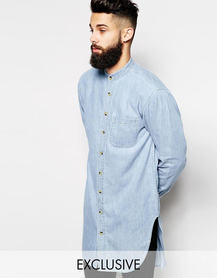 Reclaimed Vintage Super Longline Denim Shirt with Grandad Collar