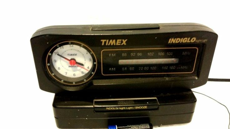 Vintage am/fm timex alarm clock radio indiglo nightlight Black