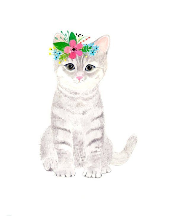 Watercolor Kitten Woodland Nursery Animal Paintings Cat Rabbit