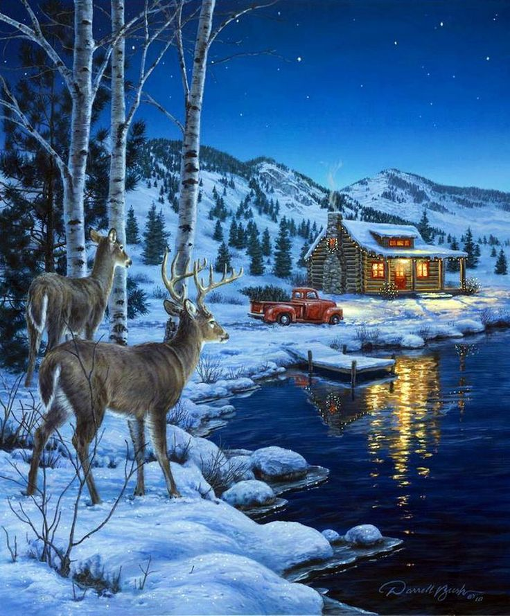 картинка с зимним пейзажем с одним домиком и оленями результате она приобретет