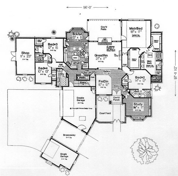 First floor plan of country southern house plan 66239 for 6 bedroom country house plans
