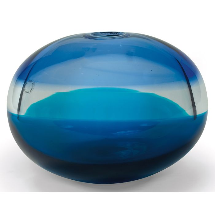 """Timo Sarpaneva """"Kotilo"""" vase, by Venini & Co., Italy, 1997, bulbous form composed of bands of green, clear and blue glass"""